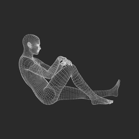 Man in a Thinker Pose. Illustration