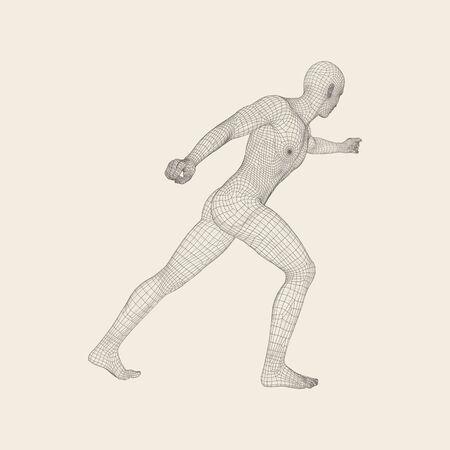 Combatiente. Modelo 3D Del Hombre. Cuerpo Humano. Símbolo Del ...