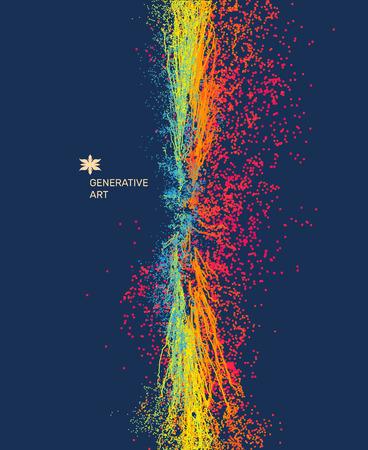 ポイントが爆発します。動的放出粒子の配列。3 d 技術のスタイル。抽象的な背景。ベクトルの図。