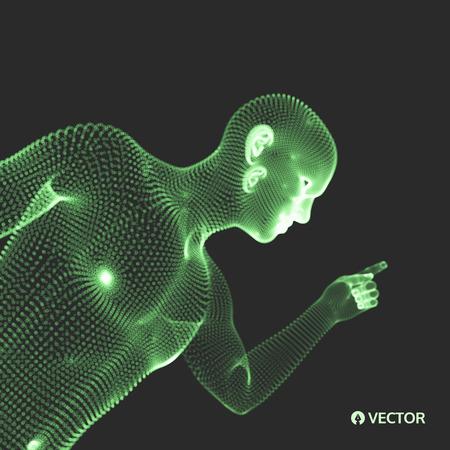 Man Pointing his Finger. 3D Model of Man. Geometric Design. Vector Illustration.