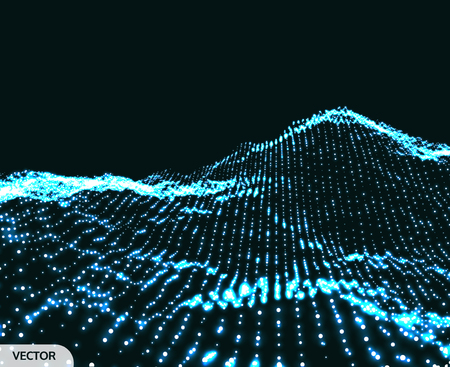 Landscape background. 3D wireframe terrain. Network abstract background. Cyberspace grid. Technology vector illustration.