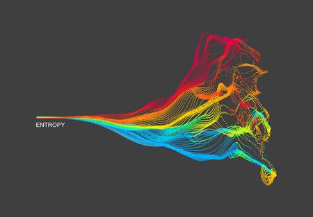 Array avec des particules émises dynamiquement. Imitation d'éclaboussures d'eau. Contexte abstrait. Illustration vectorielle.