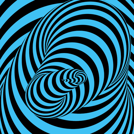 wormhole: Tunnel. Abstract striped background. Optical art. 3D vector illustration.