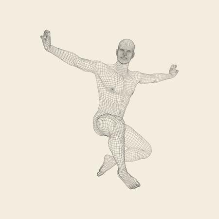 Modelo 3D Del Hombre. Modelo De Alambre De Cuerpo Humano. Elemento ...