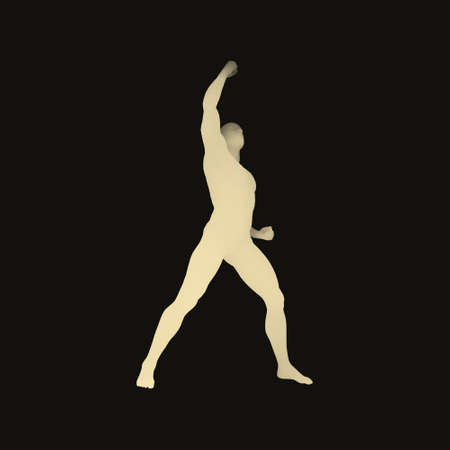 activism: Leadership concept. Human with arm up. Silhouette for sport championship. 3D Model of Man. Vector Illustration.