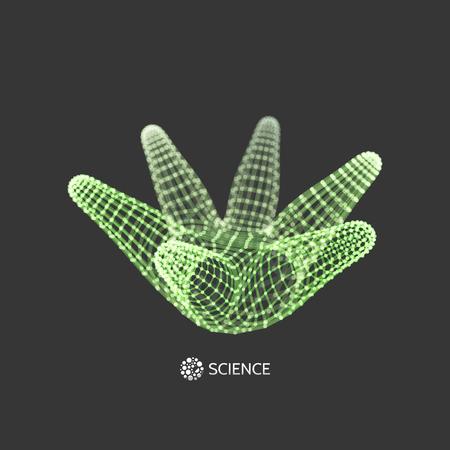 3D Connection Structure. Futuristic Technology Style. Abstract Design. Lattice Geometric Element. Vector Illustration. Illustration