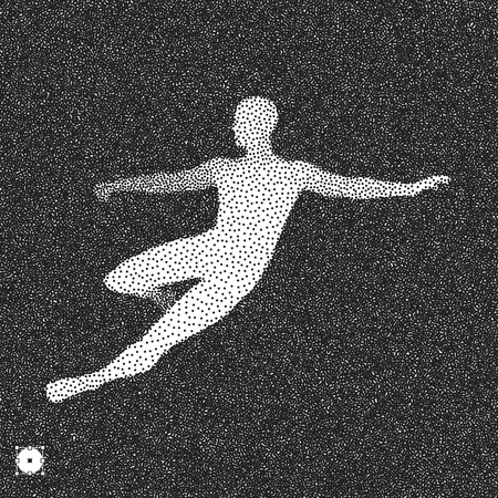 dribbling: Football player. 3D model of man. Black and white grainy dotwork design. Stippled vector illustration.