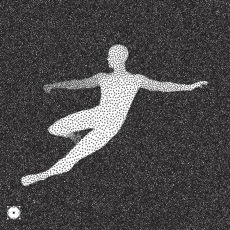 Football player. 3D model of man. Black and white grainy dotwork design. Stippled vector illustration.