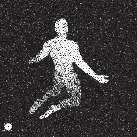 Man who prays. Black and white grainy dotwork design. Stippled vector illustration. Vektoros illusztráció