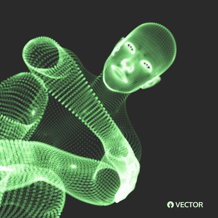 Sitting man. 3D model of man. Business, science, psychology or philosophy Vector illustration.