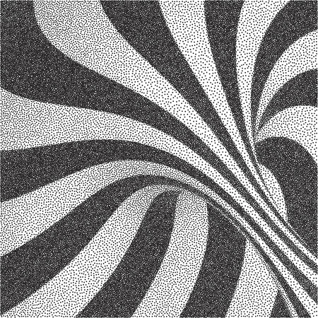 Abstract swirl background. Black and white grainy design. Pointillism pattern. Stippling effect. Vector illustration.