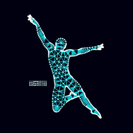 Man is posing and dancing. Silhouette of a dancer. 3d model of man. Sport symbol. Design element. Vector illustration. Illustration