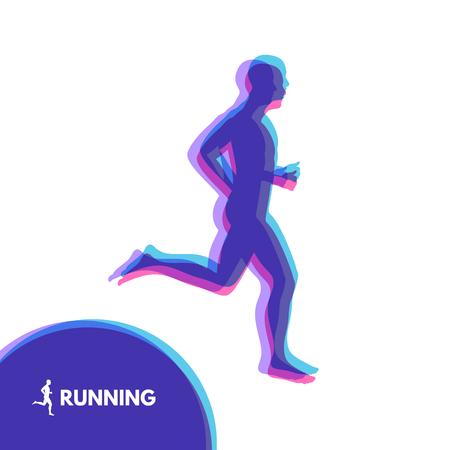 Silhouette of a running man. Design for Sport. Emblem for marathon and jogging. Vector Illustration.  イラスト・ベクター素材