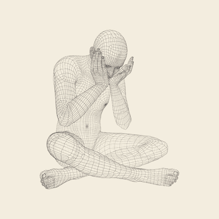 Miserable Depressed Man Sitting and Thinking. Man in a Thinker Pose. 3D Model of Man. Vector Illustration.
