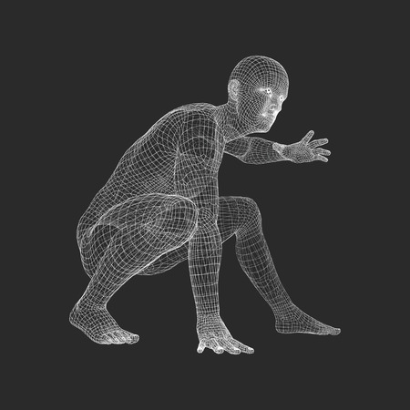 Athlete at Starting Position Ready to Start a Race. Runner Ready for Sports Exercise. Human Body Wire Model. Sport Symbol. 3d Vector Illustration.  Illustration