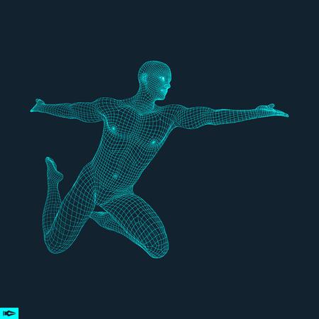 3D Model of Man. Human Body Wire Model. Design Element. Technology Vector Illustration.