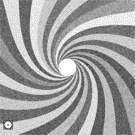 Abstract swirl background. Black and white grainy design. Stippling effect. Vector illustration. Pointillism pattern.