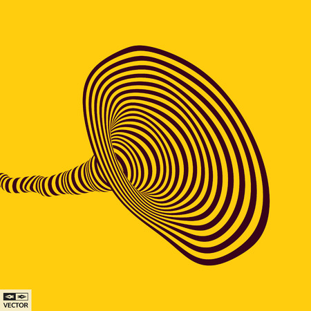 Tunnel. Optical illusion. Abstract striped background. 3D vector illustration. Vector Illustration