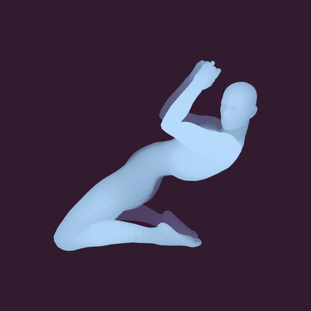 The dancer performs a dance on his knees. Silhouette of a Dancer. 3D Model of Man. Human Body. Sport Symbol. Design Element. Vector Illustration. Иллюстрация