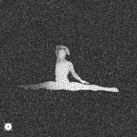grain: Gymnast. 3D Human Body Model. Black and white grainy dotwork design. Stippled vector illustration. Illustration