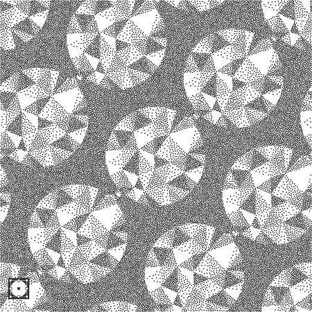 grain: Geometric pattern with gems. Black and yellow grainy dotwork design. Pointillism pattern. Stippled vector illustration.