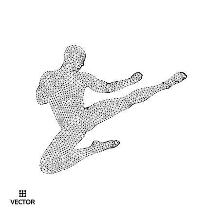 Karate and kung fu. Karate jump kick. Fighter. 3d model of man. Sport symbol. Design element. Asian martial arts. Vector illustration. Illustration