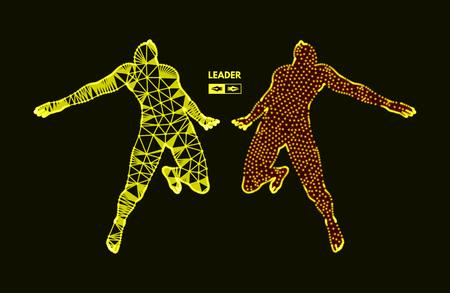 Leadership concept. Jumping man. Emblem for sport championship. Vector illustration.