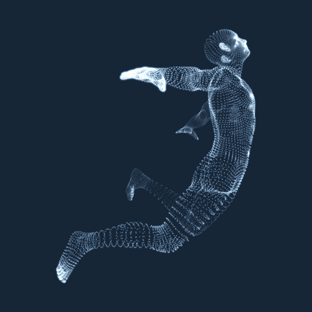 strive: Jumping Man. Vector Graphics Composed of Particles. 3D Model of Man. Human Body Model. Body Scanning. View of Human Body.