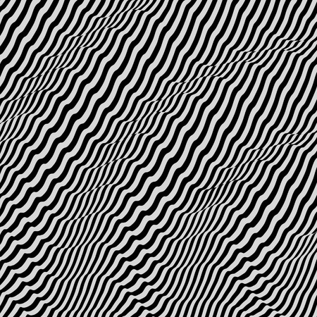 ripple: 3D wavy background. Dynamic effect. Black and white design. Pattern with optical illusion. Vector illustration. Illustration