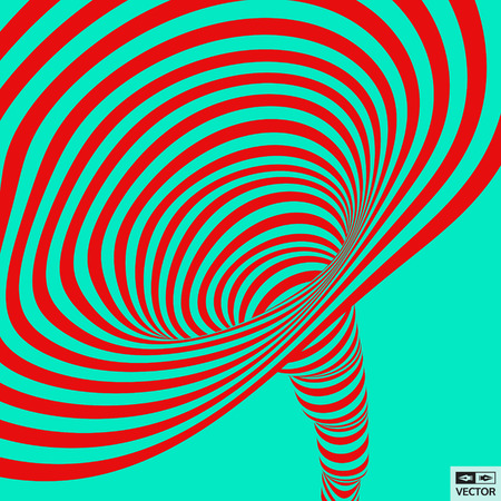 distort: Tunnel. Abstract 3D geometrical background. Pattern with optical illusion. Vector illustration.