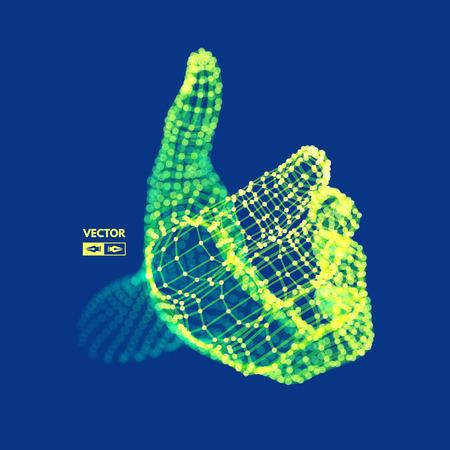 Menschlicher Arm. Handmodell. Verbindungsstruktur Zukunftstechnologiekonzept. 3D-Vektor-Illustration.