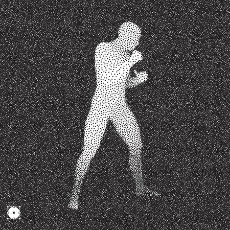 Boxer. Fighting man. 3D model of man. Black and white grainy design. Stippling effect. Vector illustration. Illustration