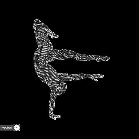 Man is posing and dancing. A dancer performs acrobatic elements. 3d model of man. Sport symbol. Design element. Vector illustration. Illustration