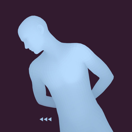 Man in a Thinker Pose. 3D Model of Man. Business, Science, Psychology or Philosophy Vector Illustration.  イラスト・ベクター素材
