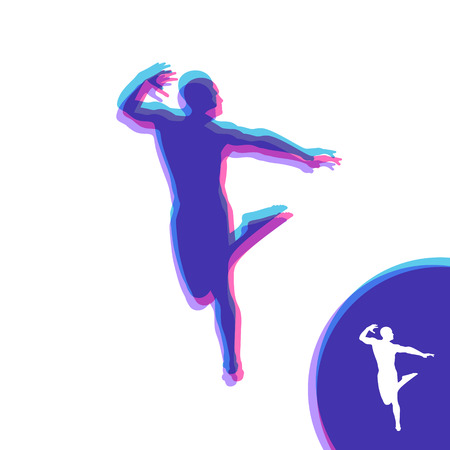 Silhouette of a Dancer. Gymnast. Man is Posing and Dancing. Sport Symbol. Design Element. Vector Illustration.