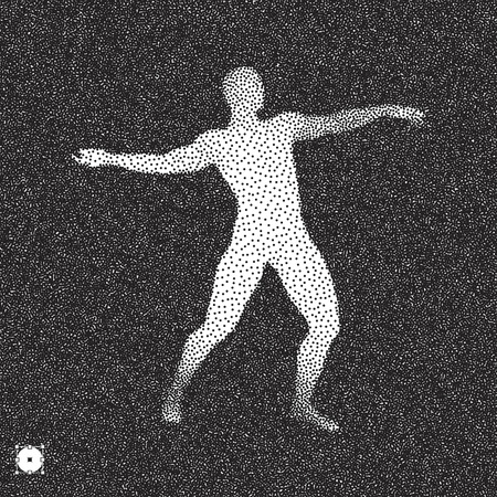 3D model of man. Black and white grainy dotwork design. Stippled vector illustration.