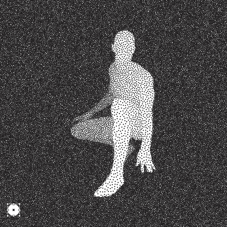 round: Athlete at starting position ready to start a race. Runner ready for sports exercise. Black and white grainy dotwork design. Stippled vector illustration.