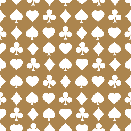 Seamless pattern with card suits. Endless background of hearts, diamonds, clubs, spades for design. Can be used for textiles, interior design, website background.