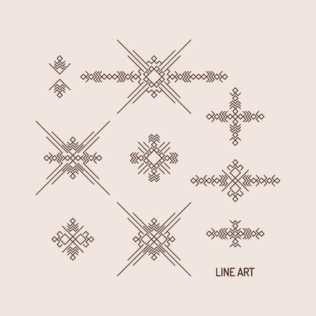 lineart: Line art design for invitation, poster, badge, monogram. Elegant luxury design template. Vector illustration.