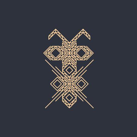 lineart: Line art design for invitation, poster, badge, monogram. Elegant luxury design template Vector illustration.