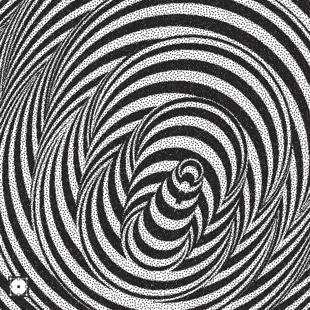 Black and white Pointillism pattern with optical illusion. Stippled vector illustration.