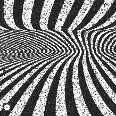 distort: Abstract 3D geometrical background. Black and white grainy design. Pointillism pattern with optical illusion. Stippled vector illustration.