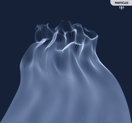 Wave Background. Abstract Vector Illustration. 3D Technology Style. Network Design with Particle.