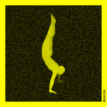 Gymnast. 3D Human Body Model. Black and yellow grainy design. Stippled vector illustration.