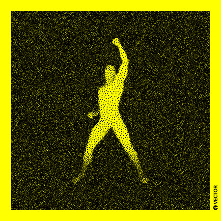 Leadership concept. Human with arm up. 3D Human Body Model. Black and yellow grainy design. Stippled vector illustration.