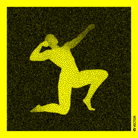 3D Human Body Model. Black and yellow grainy design. Stippled vector illustration. Illustration
