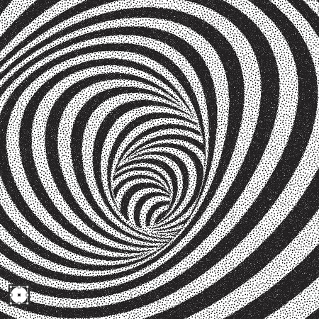 distort: Tunnel. Black and white abstract striped background. Pointillism pattern with optical illusion. Stippled vector illustration.