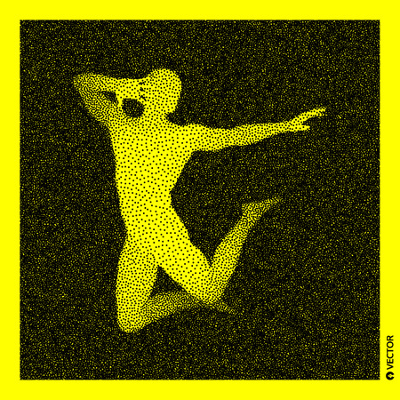 Dancer. 3D Human Body Model. Black and yellow grainy design. Stippled vector illustration.