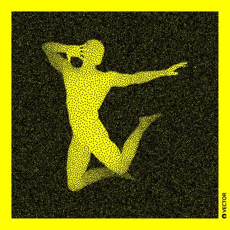 Dancer. 3D Human Body Model. Black and yellow grainy design. Stippled vector illustration.