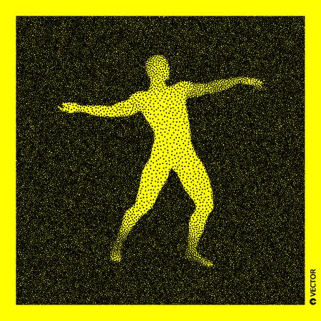 3D Human Body Model. Black and yellow grainy design. Stippled vector illustration. Illustration